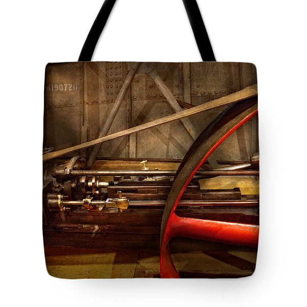 Steampunk - Machine - The wheel works Tote Bag by Mike Savad