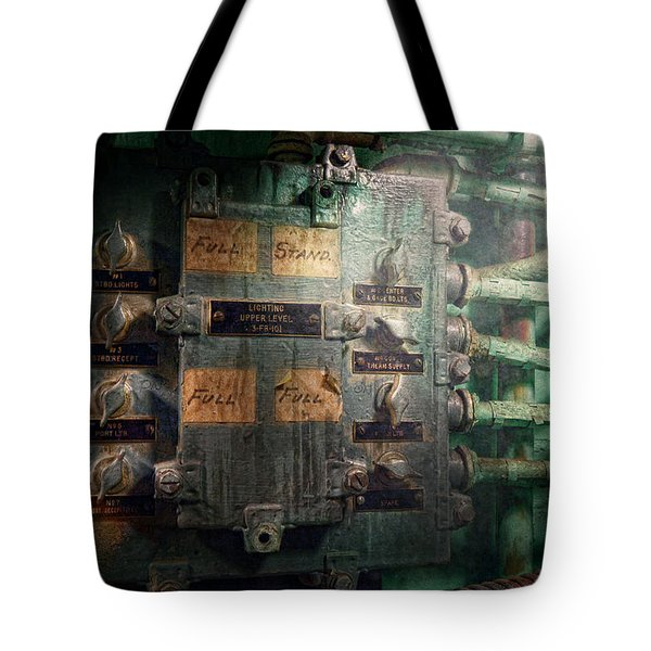 Steampunk - Naval - Electric - Lighting Control Panel Tote Bag by Mike Savad
