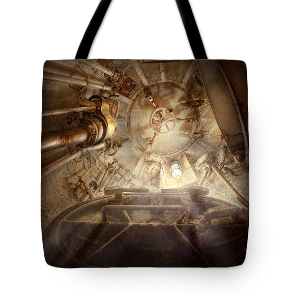 Steampunk - Naval - The Escape Hatch Tote Bag by Mike Savad