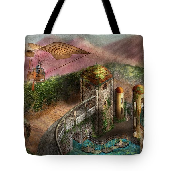 Steampunk - The Age Of Invention Tote Bag by Mike Savad