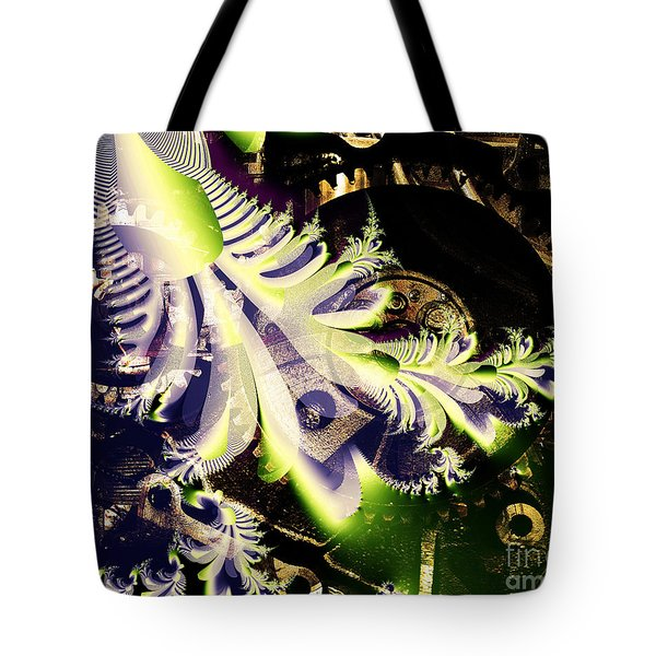 Steampunk Abstract Fractal . S2 Tote Bag by Wingsdomain Art and Photography