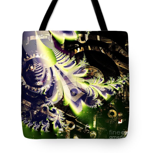 Steampunk Abstract Fractal . Square . S2 Tote Bag by Wingsdomain Art and Photography