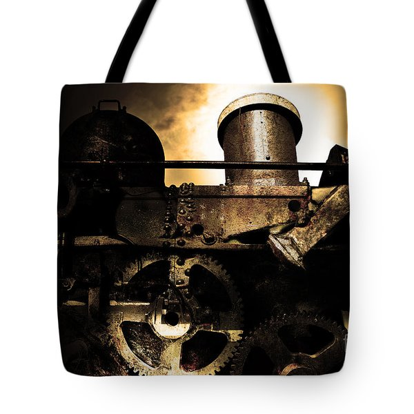 Steampunk Railway Transcontinental Line . Where Steam Is Still King . Gold Version Tote Bag by Wingsdomain Art and Photography