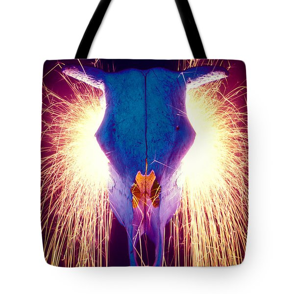 Steer Skull With Sparks Tote Bag by Garry Gay
