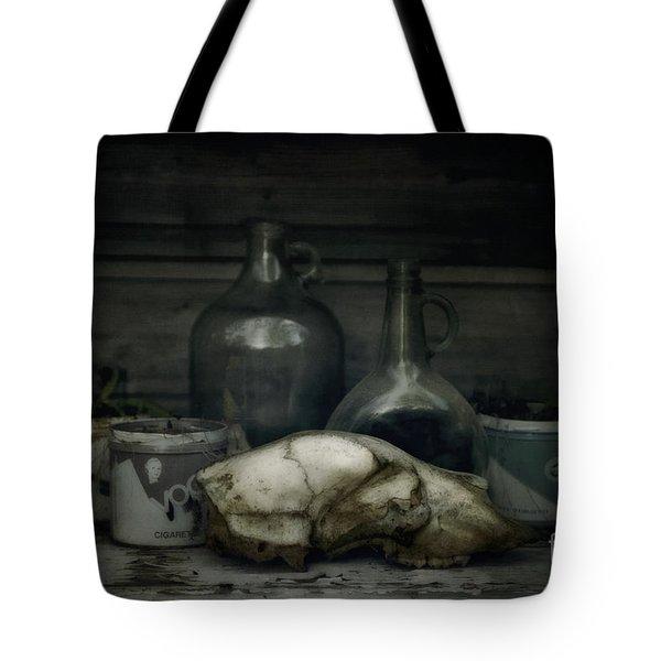 Still Life With Bear Skull Tote Bag by Priska Wettstein