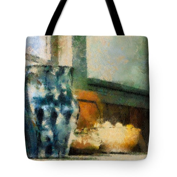 Still Life With Blue Jug Tote Bag by Lois Bryan