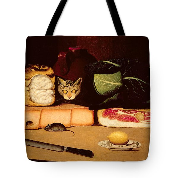 Still Life With Cat And Mouse Tote Bag by Anonymous