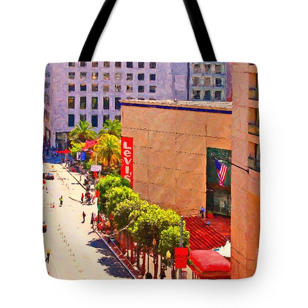 Stockton Street San Francisco Towards Union Square Tote Bag by Wingsdomain Art and Photography