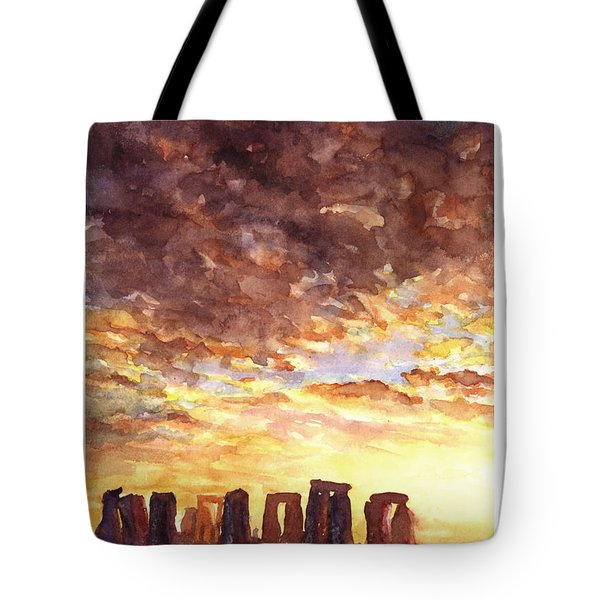 Stonehenge Sunrise Tote Bag by Ryan Fox