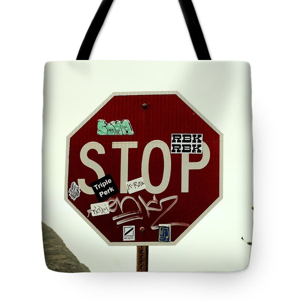 Stop Taggin Tote Bag by Cheryl Young