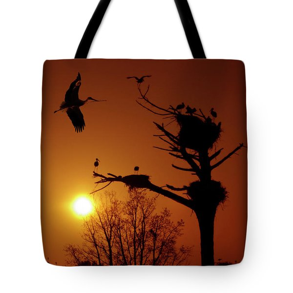 Storks Tote Bag by Carlos Caetano