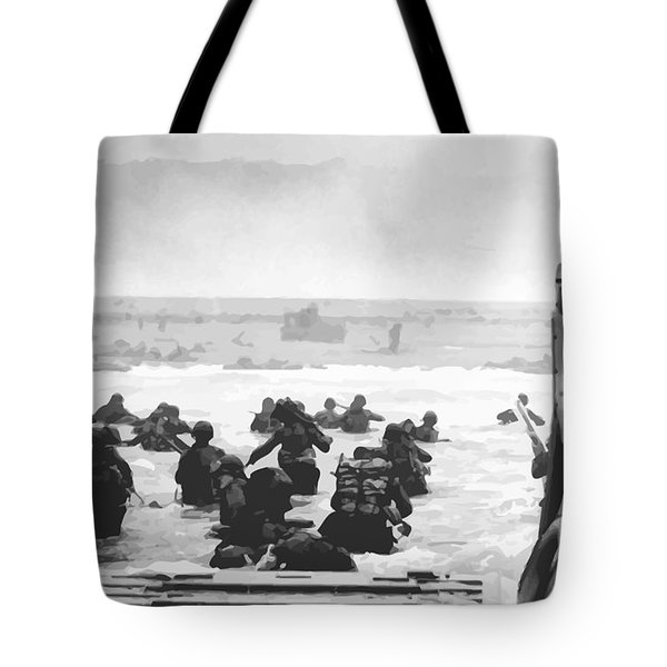 Storming The Beach On D-Day  Tote Bag by War Is Hell Store