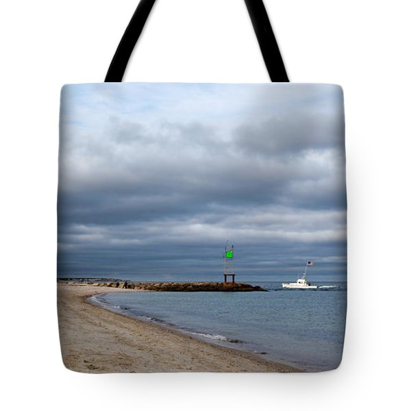 Stormy Evening Bass River Jetty Cape Cod Tote Bag by Michelle Wiarda