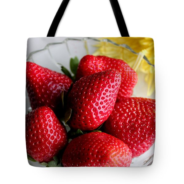 Strawberries And Yellow Mum Tote Bag by Barbara Griffin