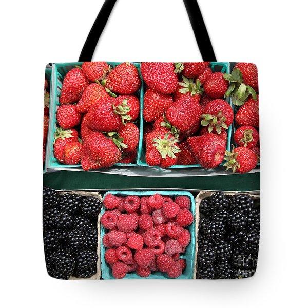 Strawberries Blackberries Rasberries - 5d17809 Tote Bag by Wingsdomain Art and Photography