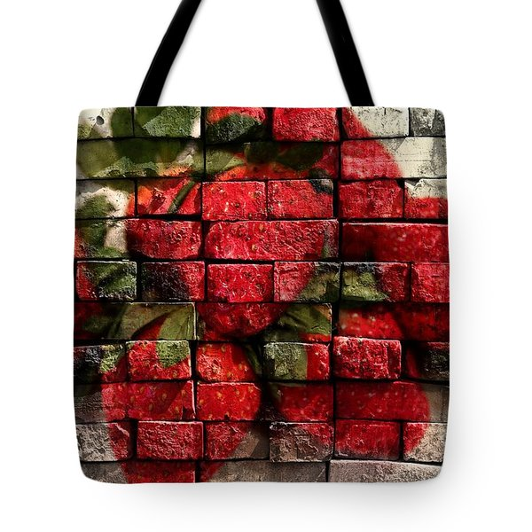 Strawberries On Bricks Tote Bag by Barbara Griffin