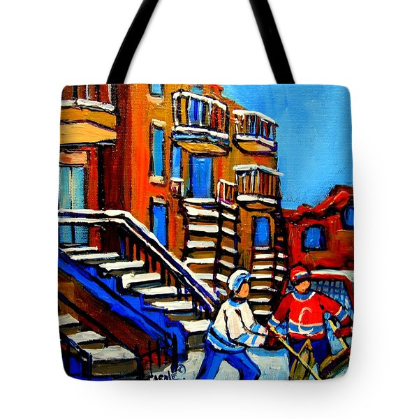 Street Hockey Near Staircases Montreal Winter Scene Tote Bag by Carole Spandau