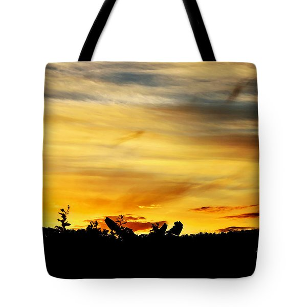 Stripey Sunset Silhouette Tote Bag by Kaye Menner