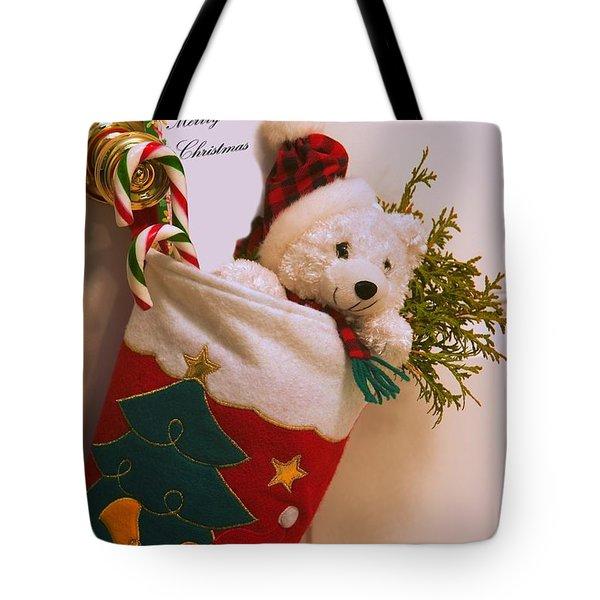 Stuffed Christmas Stocking Tote Bag by Carson Ganci