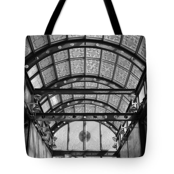 Subway Glass Station In Black And White Tote Bag by Rob Hans