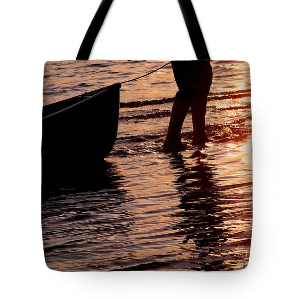 Summer Days - Canoeing At Sunset Tote Bag by Angie Rea
