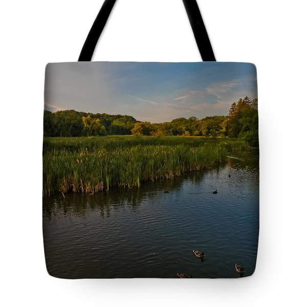 Summer Duck Pond Tote Bag by Jiayin Ma