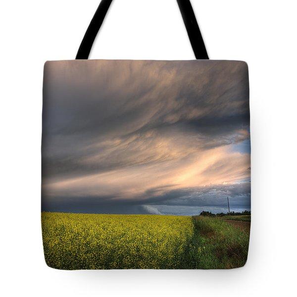 Summer Evening Storm Blowing Over Ripe Tote Bag by Dan Jurak
