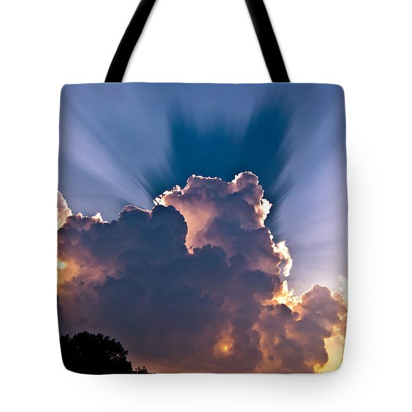 Sun Rays And Clouds Tote Bag by Amber Flowers