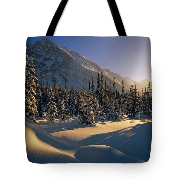Sun Setting Behind Trees And Mountain Tote Bag by Mike Grandmailson