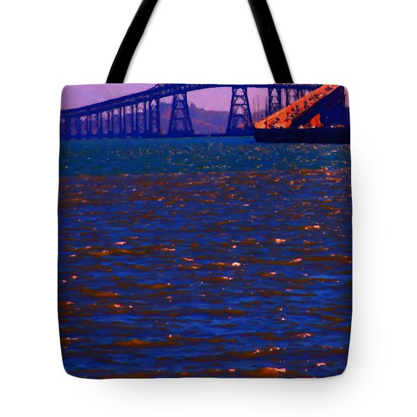 Sun Setting Beyond The Richmond-San Rafael Bridge - California - 5D18435 Tote Bag by Wingsdomain Art and Photography