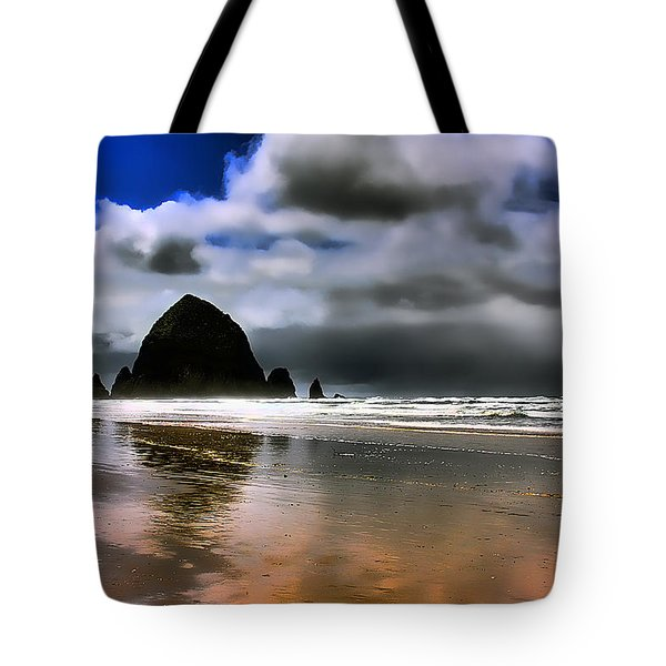 Sun Shining On Haystack Rock Tote Bag by David Patterson