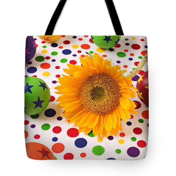 Sunflower and colorful balls Tote Bag by Garry Gay