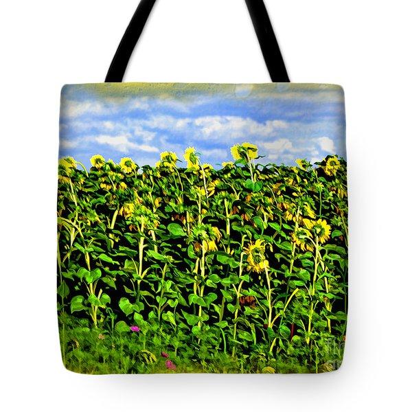 Sunflowers in France Tote Bag by Joan  Minchak