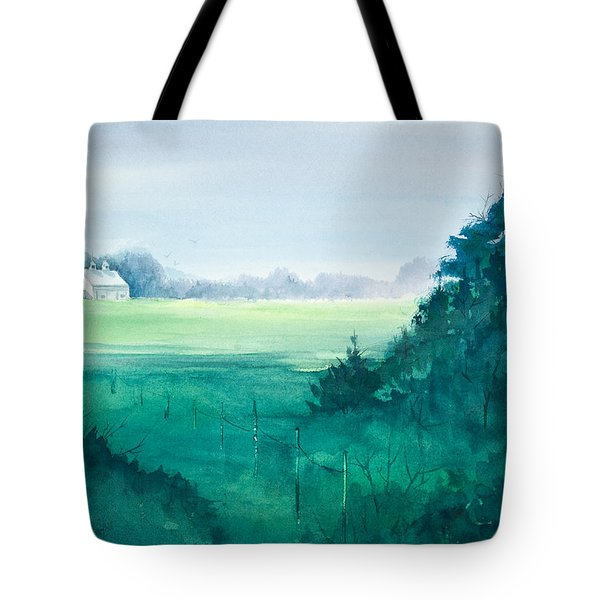 Sunlit Field Watercolor Painting Tote Bag by Michelle Wiarda