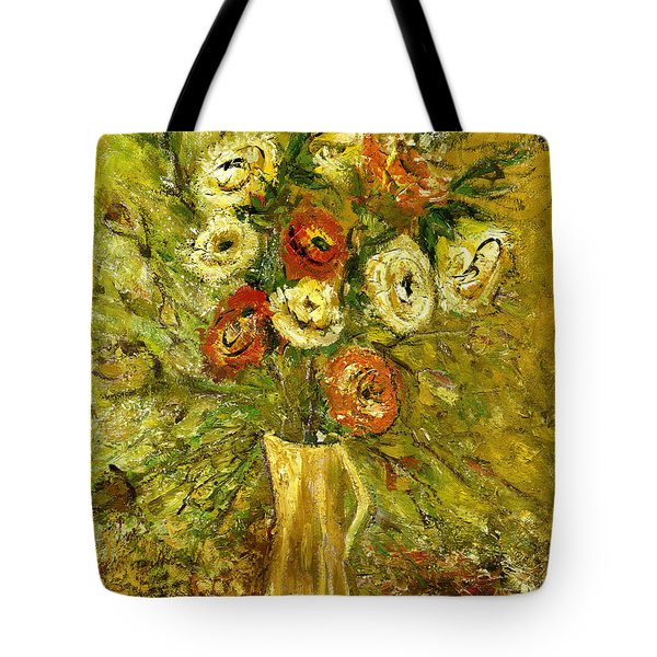 Sunny Flowers In Yellow Vase Tote Bag by Rachel Hershkovitz