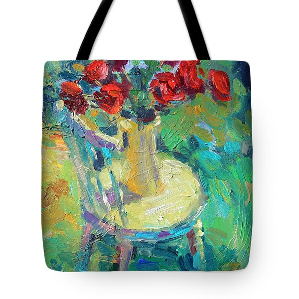 Sunny Impressionistic rose flowers still life painting Tote Bag by Svetlana Novikova