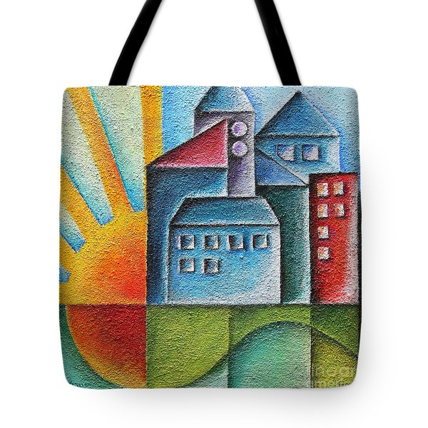 Sunny Town Tote Bag by Jutta Maria Pusl