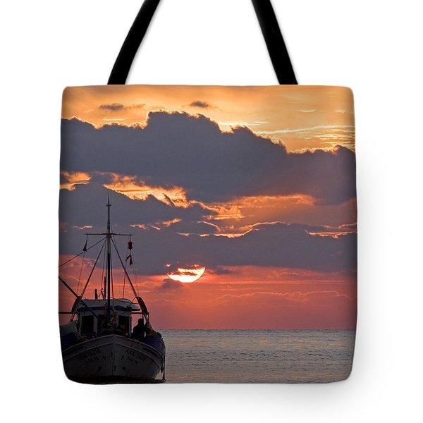 Sunrise In Crete Tote Bag by Max Waugh