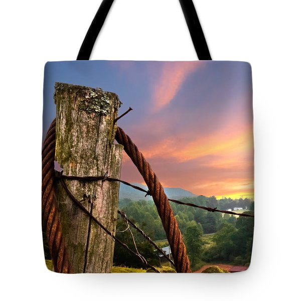 Sunrise Lasso Tote Bag by Debra and Dave Vanderlaan