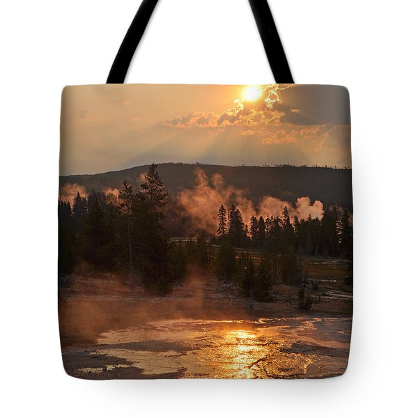 Sunrise Near Yellowstone's Punch Bowl Spring Tote Bag by Bruce Gourley