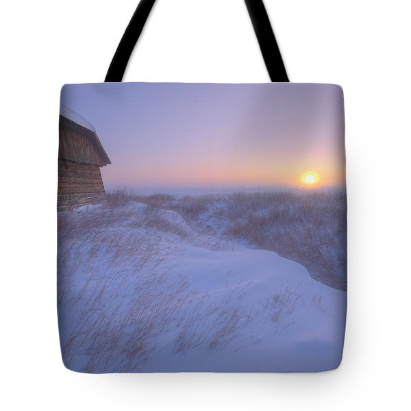 Sunrise On Abandoned, Snow-covered Tote Bag by Dan Jurak