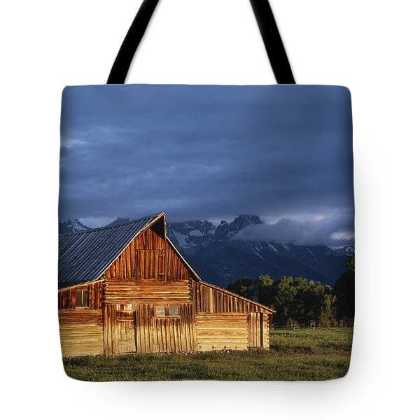 Sunrise On Old Wooden Barn On Farm Tote Bag by Axiom Photographic