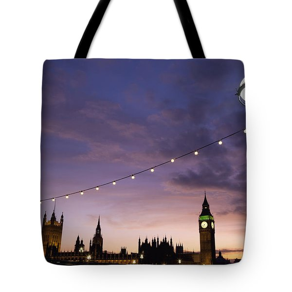 Sunset Behind Big Ben And The Houses Tote Bag by Axiom Photographic