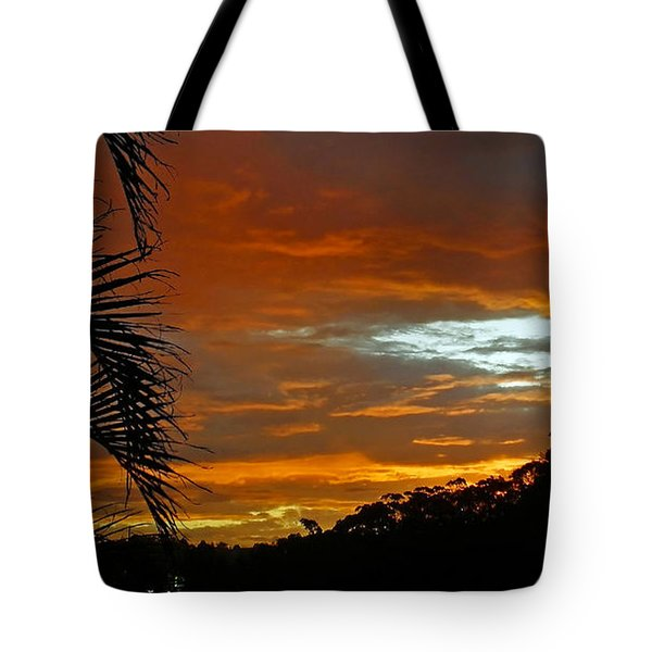 Sunset Behind The Palms Tote Bag by Kaye Menner