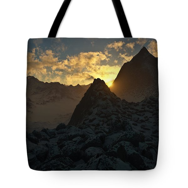Sunset in the Stony Mountains Tote Bag by Hakon Soreide