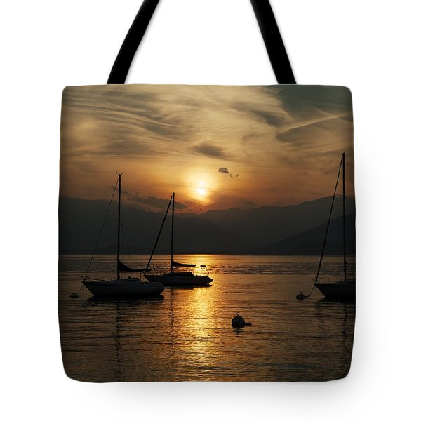 Sunset Lake Maggiore Tote Bag by Joana Kruse