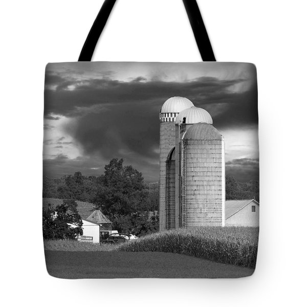Sunset On The Farm BW Tote Bag by David Dehner