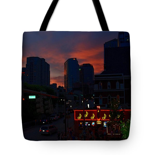 Sunset over Nashville Tote Bag by Susanne Van Hulst