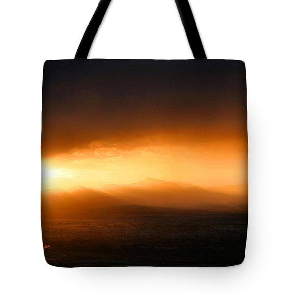 Sunset Over Salt Lake City Tote Bag by Kristin Elmquist