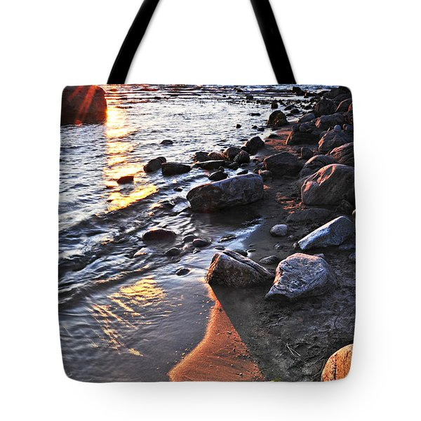 Sunset Over Water Tote Bag by Elena Elisseeva